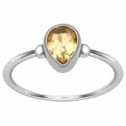 Bezel Set Pear Shape 0.65 Cts Citrine Gemstone 925 Sterling Silver  Ring