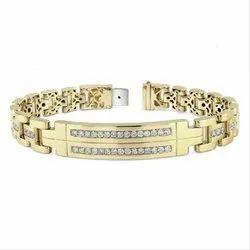 Mens Diamond Link Bracelet In 14k Gold