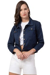 AMEEHA COTTON DENIM JACKET FOR WOMEN PEACOCK BLUE