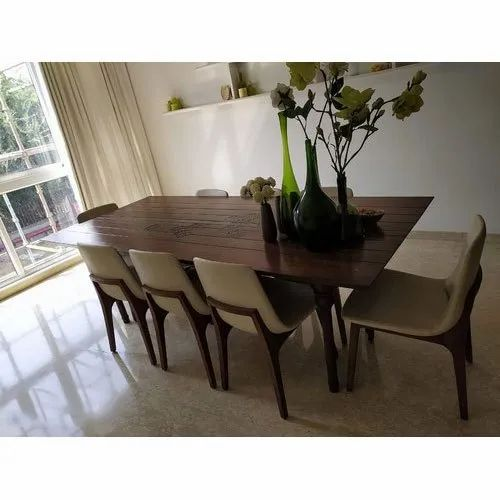 Rectangular Polished 8 Seater Wooden Dining Table Set For Home Size 7 X 3 Feet Table Top Rs 600 Square Feet Id 22636592212