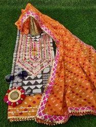 Aaditri Clothing Chanderi Gota Patti Suit Material