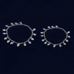 Casual Wear 925 Fine Silver Oxidized Leaf Anklet Women Jewelry, 29 Gram