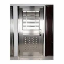 Silver Stainless Steel SS Main Door, For Commercial, Single