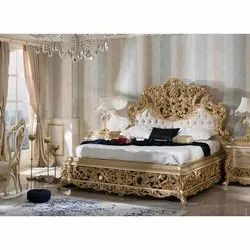 Brown Antique carving golden bed, For Home