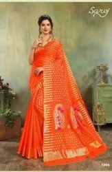 Orange Color Poly Cotton Silk  Saree