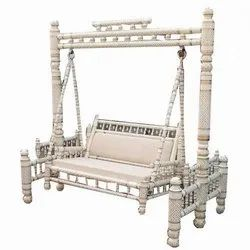 Sankheda Handicraft White And Gold Wooden Swing With Stand