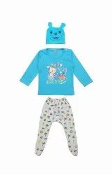 New Born Baby Unisex Fullsleeve Top Pant With Cap Dgn 533