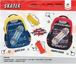 Tuxedo Black & Moon Blue Bag Skater (Genius Backpack), Number Of Compartments: 3, Bag Capacity: 34Litres