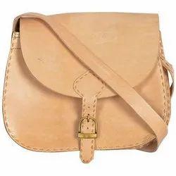 Plain Women Ladies Leather Sling Bag, Size: 10 X 12 Inch