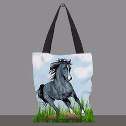 Loop Handle Printed Cotton Canvas Carry Bag