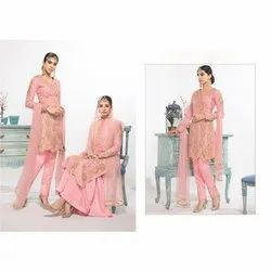 Ladies Net Unstitched Suit