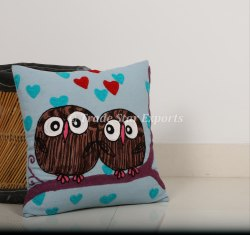 Decorative Sofa Pillow Cover Animal Embroidered Cushion Cover Canvas Cotton Suzani Cushion Cover