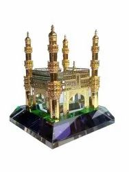 Glass Giolden Hyderabad Charminar Showpiece Home Decor Corporate Office Gift, Size/Dimension: 6.6 x 6.6 x 7.87 Cm