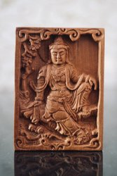 Sandalwood Fine Hand Carved Buddha Pendant Or Panel 3 Inches