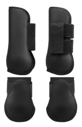 Black Leather Horse Tendon Boots Set