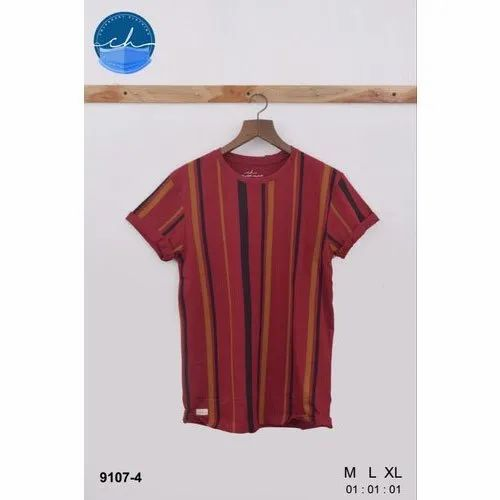 Mens Cotton Vertical Striped T Shirt