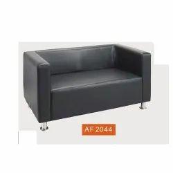 Black 1.5 Feet 2 Seater Leather Office Sofa