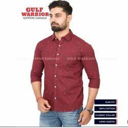 Plain Collar Neck Men Cotton Casual Shirt