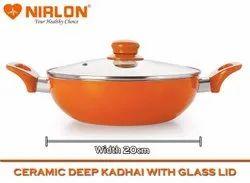 Nirlon Ceramic Induction Base Non-Stick Aluminium Kadai 20cm 1.5 liters