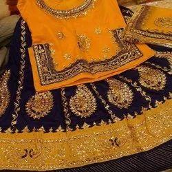 Yellow And Blue Satin Silk Stylish Embroidery Rajputi Poshak