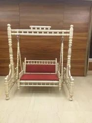 Sankheda Handicraft Cream & Golden Wooden Swing With Stand