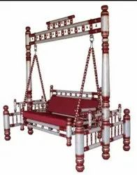 Sankheda Handicraft Red And White Wooden Swing With Stand