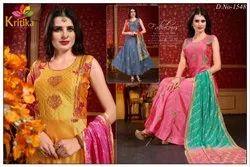Silk Stitched Ladies Party Wear Designer Suit, Machine wash