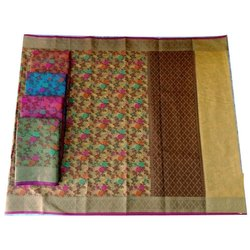 Party Wear Ladies Printed Fancy Banarasi Cotton Sarees, With Blouse, 6.3 m