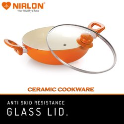 Nirlon Aluminum 2.25L Ceramic Deep Kadhai With Glass Lid, For Kitchen, Size: 22 Cm