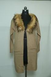 0015 Woolen Long Coat with Fur