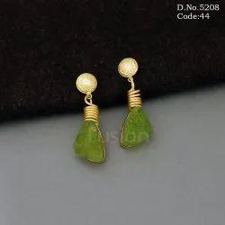 Matt Gold Polish Brass Metal Druzy Stone Earrings