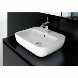 White Ceramic Roca Fusion S Wash Basin, For Bathroom
