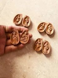 Sandalwood Miniature Carved Opening Almonds 4 Pieces Lot