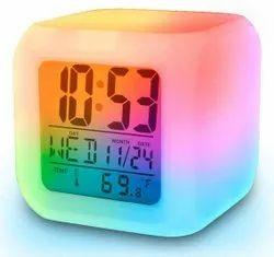 Digital White 7 Color Changing LED Cube Alarm Table Clock, Shape: Square, Size: Medium
