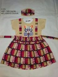 NEW KITTY DESIGN  HALF SLEEVES LONG FROCK FOR GIRLS