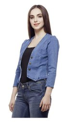 Full Sleeve Comfort Fit Regular Collar Blue Womens Denim Jacket