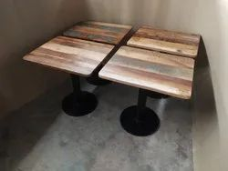 HV Wooden Reclaim Wood Cafe Table, Size: 24*24*30 Inch, Seating Capacity: 2