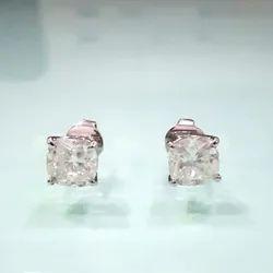 Cushion Push Back Stud Earrings in 14k gold, Moissanite Diamond Stud Earrings, Moissanite Earrings