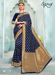 Royal Blue Designer Jacquard Saree