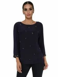 Polyester Navy Stone Motif Top, Age Group: 30-50