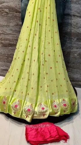 Designer Pure Georgette Satin Patta Fabric Saree
