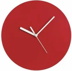 home brand Red Wooden Analog Wall Clock, Size: 9 X 9 Inch