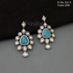 Handmade Turquoise Stone Victorian Chandelier Earrings
