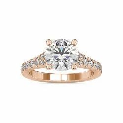 Round Cut Full White Moissanite Ring White,Yellow,Rose Gold For Engagement