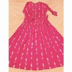 Casual Wear Printed Pochampally Cotton Kurti, Size: L-Xxl