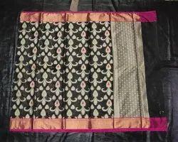 Black BANARASI ZARI KOTA JAQUARD SAREE, 6.3 m (with blouse piece)