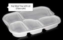 5 Compartment Disposable Plate With Lid