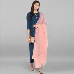 Janasya Women's Turquoise Blue Rayon Kurta With Pant And Dupatta(SET043)