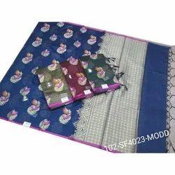 Party Wear Ladies Banarasi Fancy Cotton Saree, With Blouse, 6.3 m