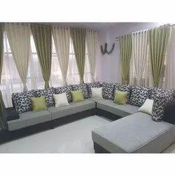 Wooden (Frame) Modern Living Room U Shape Sofa Set, Cushion Back